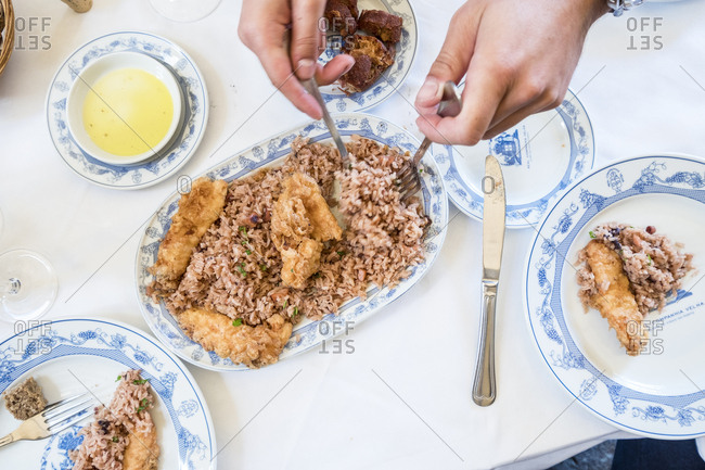 Porto, Portugal - September 21, 2017: traditional cuisine served in Adega S�o Nicolau restaurant in the centre of Porto