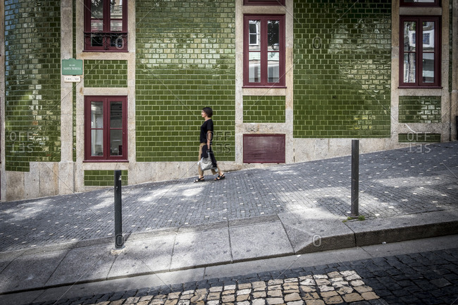 Porto, Portugal - September 21, 2017: Everyday life in a central street of the city of Porto
