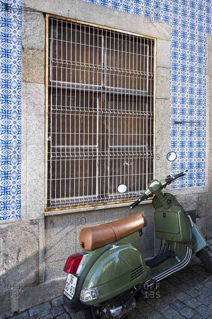 Porto, Portugal - September 21, 2017: European classic motorbike on a street in the center of the city of Porto