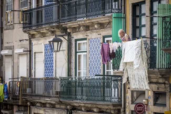 Porto, Portugal - September 21, 2017: Daily scenes in the downtown streets of the city of Porto