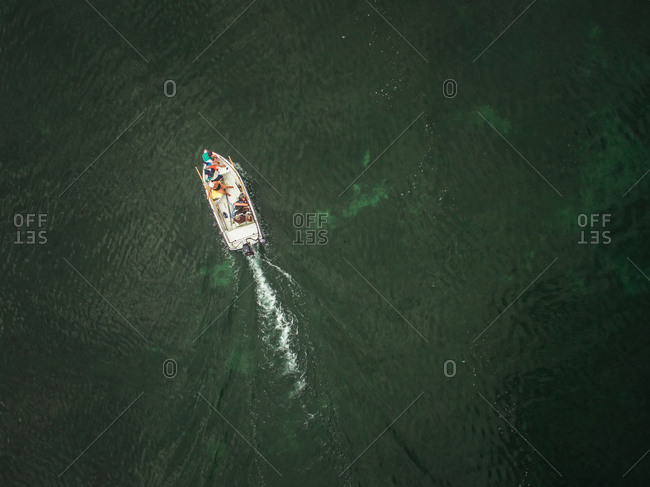 Aerial view of a family in a boat in Baltic sea in Estonia