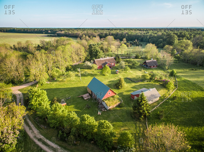 SAXBY, ESTONIA - 2016-05-29 : Aerial view of few houses in countryside of Estonia
