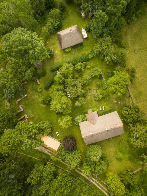 Aerial view of traditional houses in countryside in Estonia