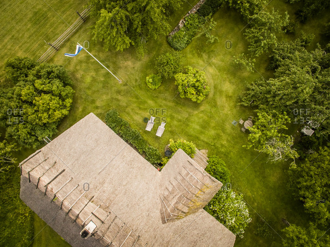 Aerial view of a traditional house rooftop in Estonia