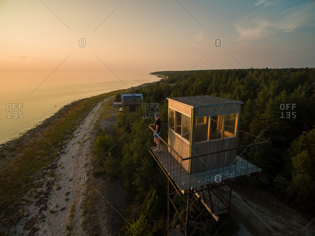 Aerial view of watching tower on the beach at sunset in Estonia