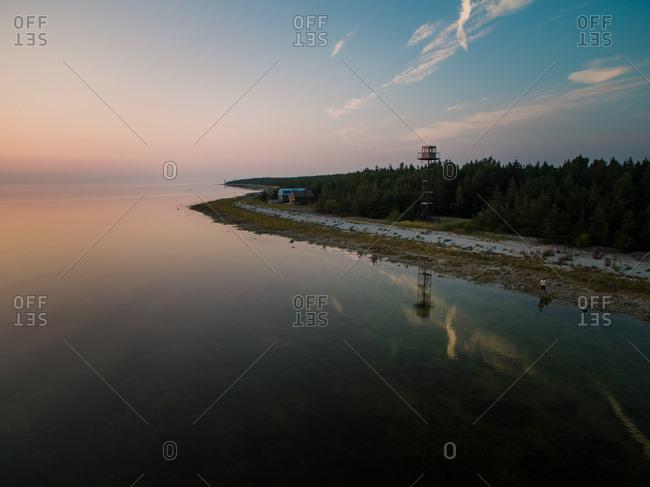 Aerial view of Vormsi island coastline  at sunset in Estonia