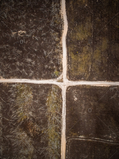 Aerial view of a road junction in the middle of farmland in Estonia