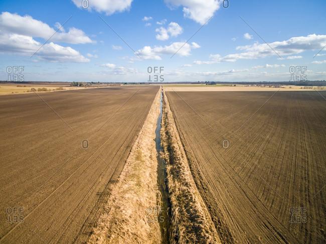 Aerial view of a small irrigation in Farmland in Estonia