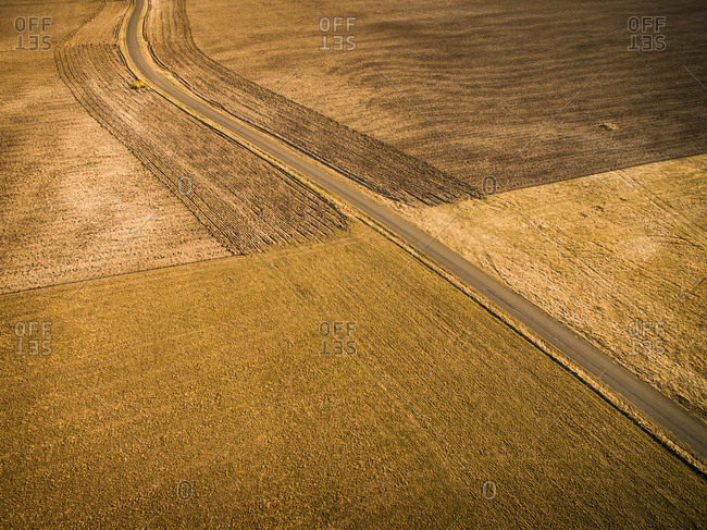 Aerial view of empty straight road in the middle of farmland in sunset light in Estonia