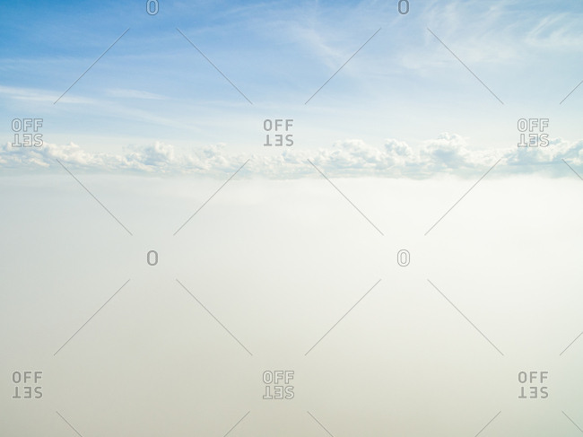 Aerial view of the bright cloudy sky of Estonia