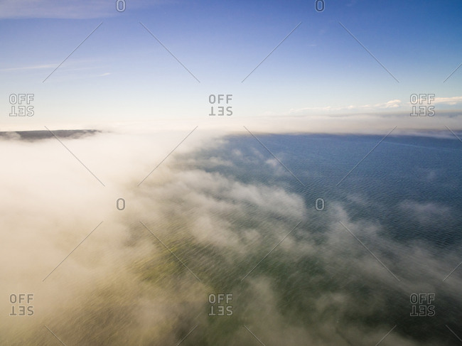 Aerial view of the baltic sea thought the clouds in Estonia