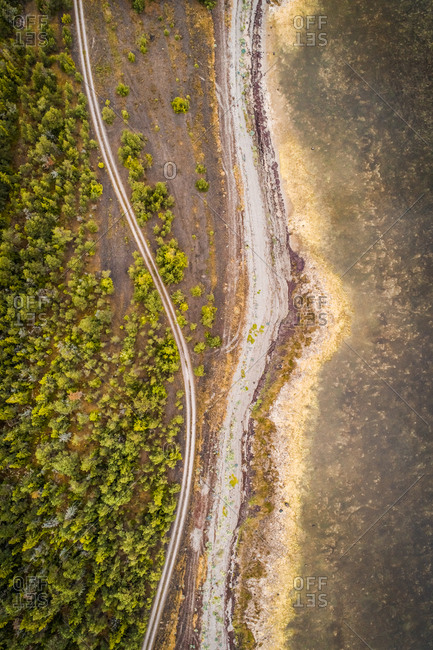 Aerial view of an empty road surrounded by nordic forest and coast of Island Vormsi, Estonia