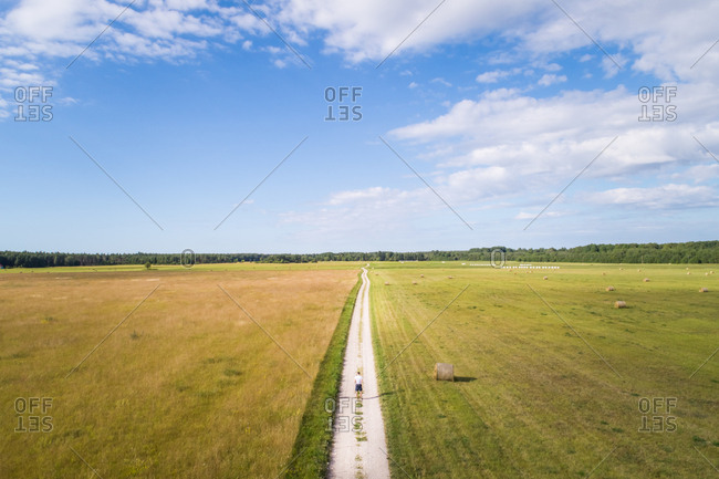 Aerial view of a man walking alone on a path in the middle of farmland in Estonia