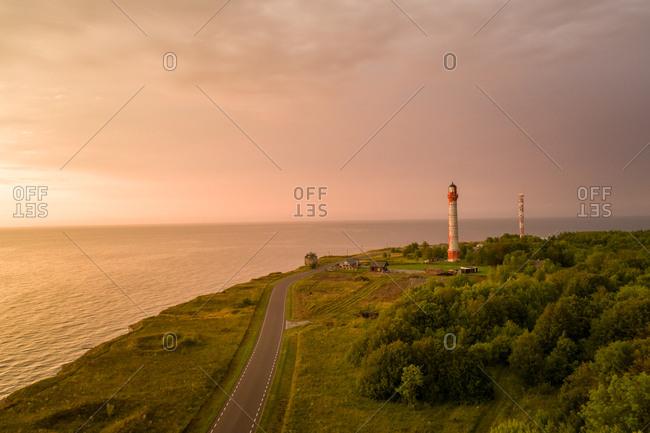 Aerial view of Pakri lighthouse on Pakri peninsula at sunset in Estonia