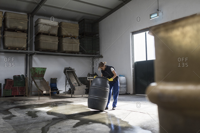 Worker woman looking into a barrel in olives storage company