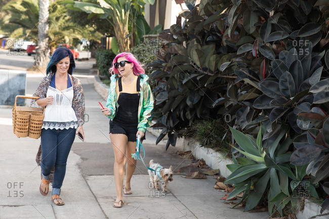 Two women walking together smiling and laughing in conversation with small dog on a leash beside them