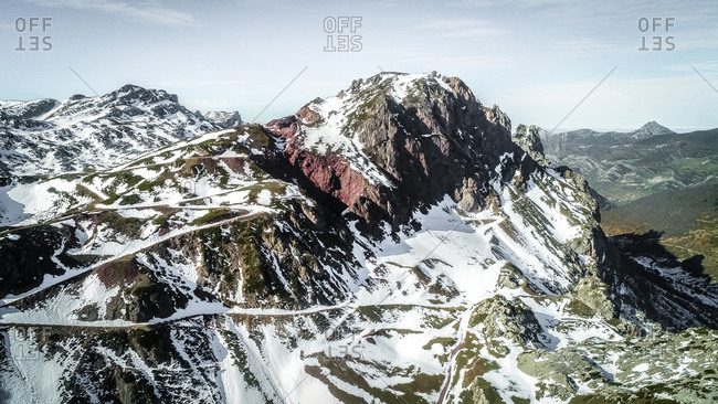 Aerial view of snowy mountains in Asturias, northern Spain
