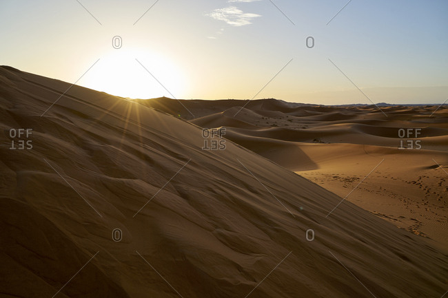Sunrise over the dunes of Erg Chebbi, Morocco
