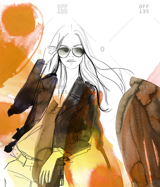 Fashionable woman wearing sunglasses