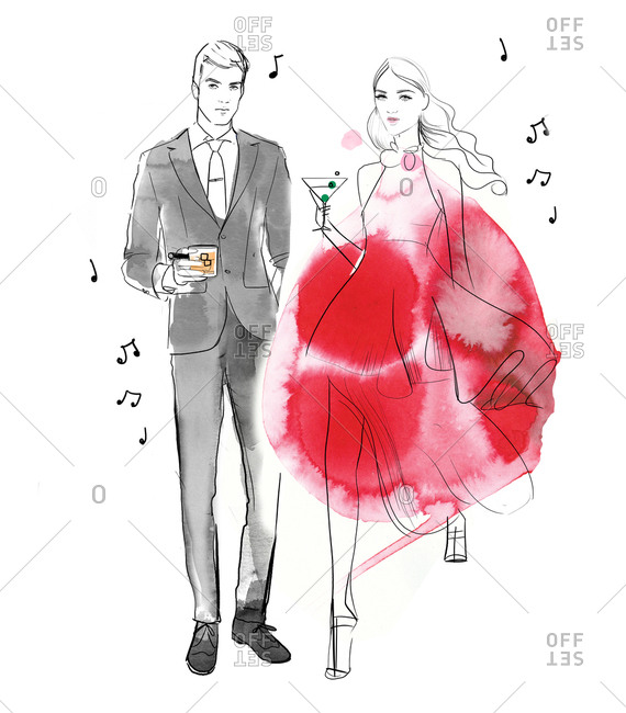 Fashionable couple holding cocktails