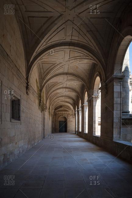 Empty cathedral exterior corridor