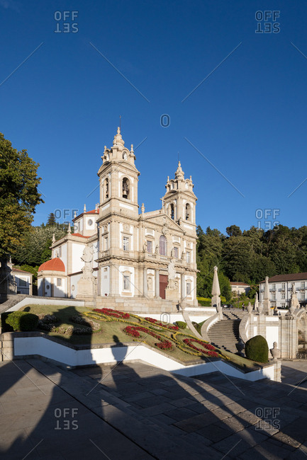 Landscaped baroque cathedral courtyard
