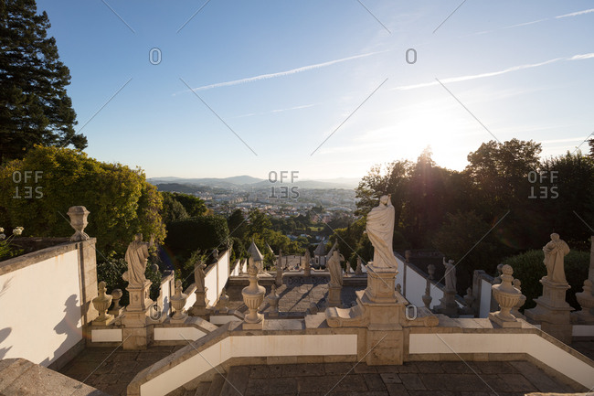 Sunset view at top of baroque cathedral stars