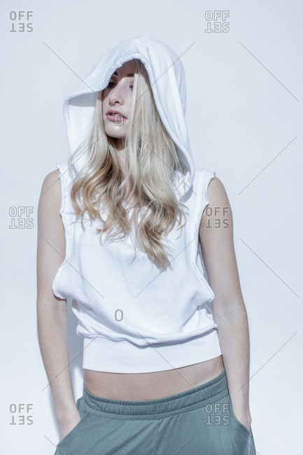 Model in edgy athletic fashion line