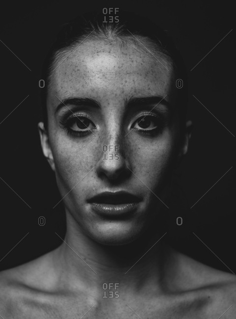 Moody monochrome model headshot