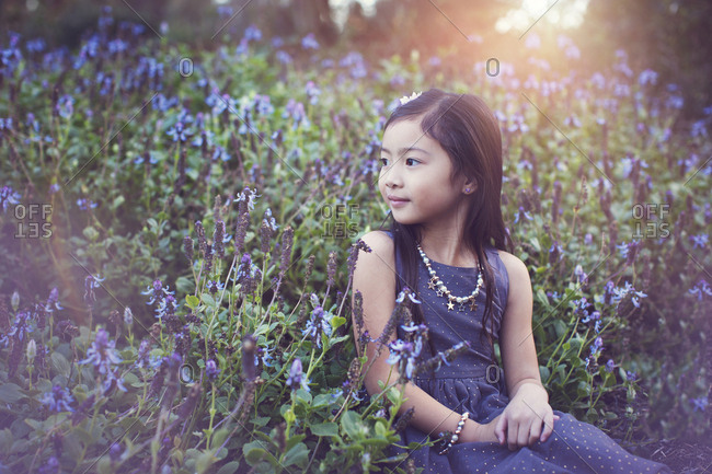 Cute girl looking away while sitting amidst flowering plants at park