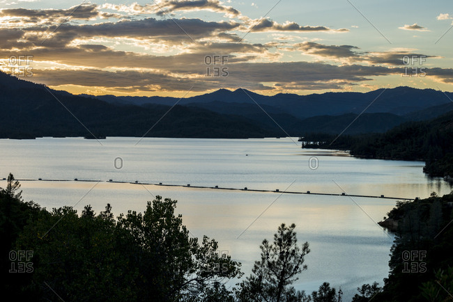 Beautiful sunset view looking out over Whiskeytown Lake near Redding, California