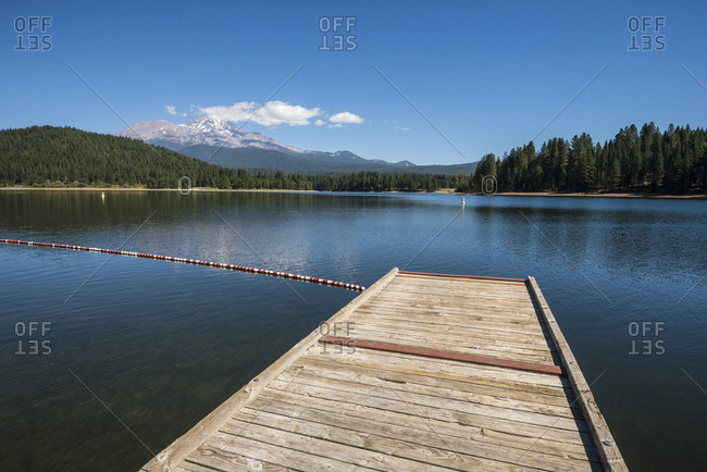 Pier on Lake Siskiyou on a beautiful summer day with Mount Shasta in the background, California
