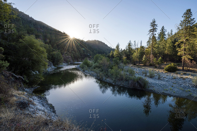The Salmon River at sunrise in Forks of Salmon, California