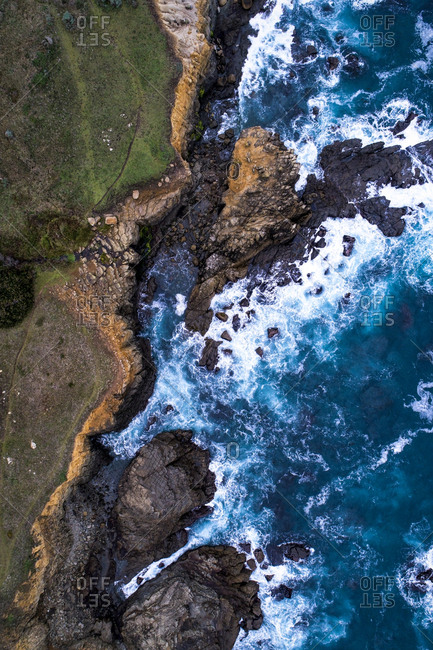 A bird's eye view of the rugged coastline of Salt Point State Park on the Sonoma Coast in northern California