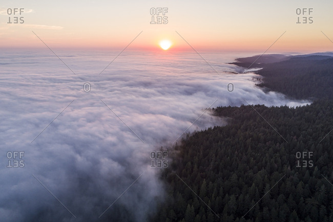 Fog rolling off the Pacific Ocean covers the Sonoma Coast at sunset near Salt Point State Park, California