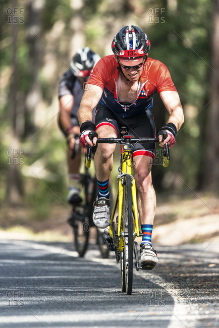 Sunshine Coast, Queensland, Australia - July 14, 2017: Road cyclists in Velothon race