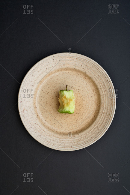 Apple core on a plate