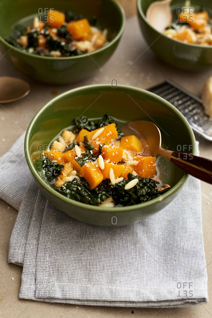 Kale and orzo soup with butternut squash