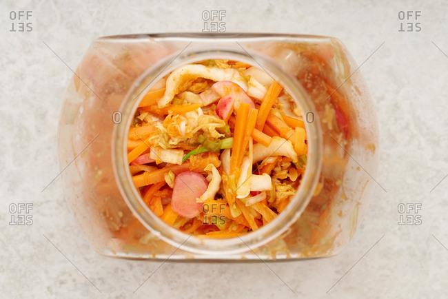 Kimchi in a glass jar