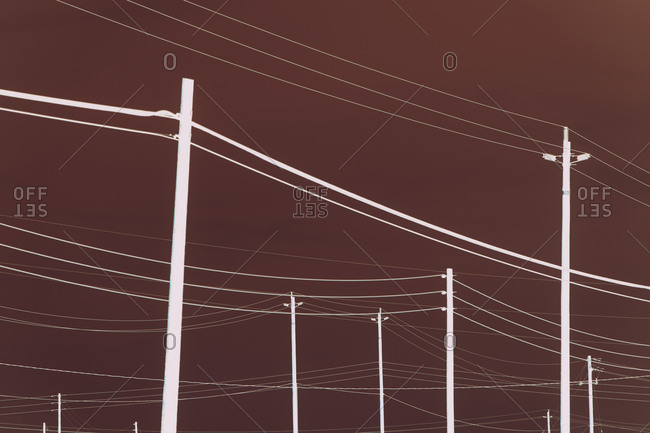 Abstract of power lines and telephone poles