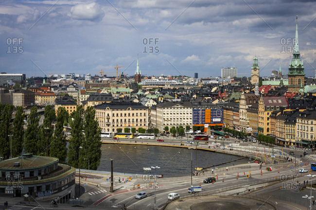 Stockholm, Sweden - July 15, 2014: A view of Gamla Stan from Sodermalm