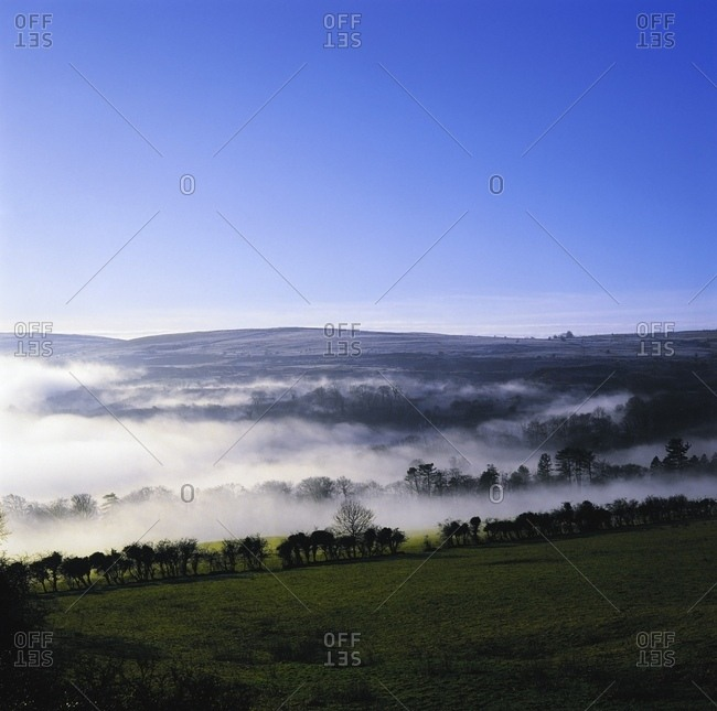 June 13, 2007: Co Antrim, Ireland; Mist Over A Landscape