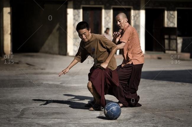 March 5, 2007: Monks Playing Soccer; Pokhara, Nepal