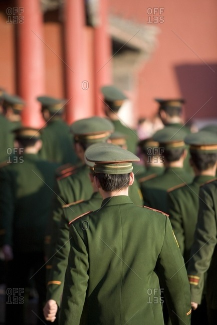 February 16, 2008: Guards Walking; The Forbidden City, Beijing, China