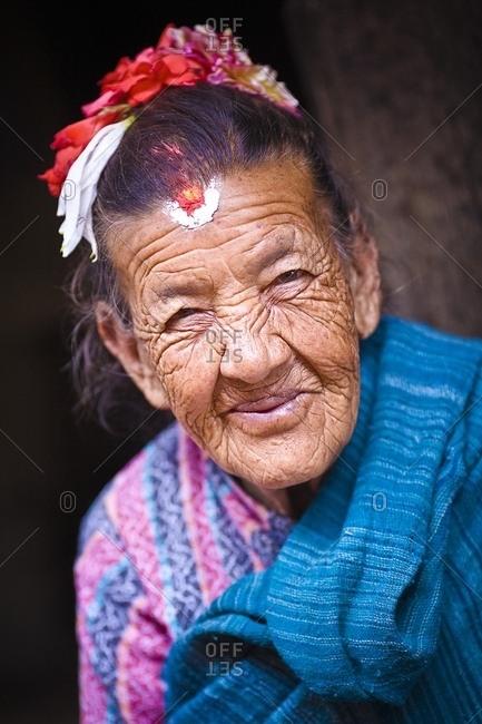 June 13, 2007: Portrait Of Elderly Woman; Sankhu, Nepal