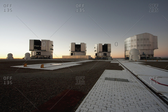 February 27, 2008: Antu (Sun) Unit Telescope 1, Kueyen (Moon) Unit Telescope 2, Melipal (Southern Cross) Unit Telescope 3 & Yepun (Venus) Unit Telescope 4 Belonging To The Very Large Telescope (Vlt) Operated By The European Southern Observatory On Cerro Paranal At Sunset, Antofagasta Region, Chile