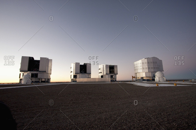 February 27, 2008: Sun Unit Telescope 1, Moon Unit Telescope 2, Southern Cross Unit Telescope 3 & Venus Unit Telescope 4 Belonging To The Very Large Telescope (Vlt) Operated By The European Southern Observatory On Cerro Paranal At Dusk, Antofagasta Region, Chile