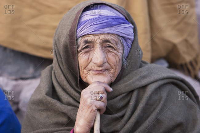 November 12, 2005: Old Woman Waiting For Aid And Relief Goods Near The Line Of Control, Chakothi, Azad Kashmir, Pakistan