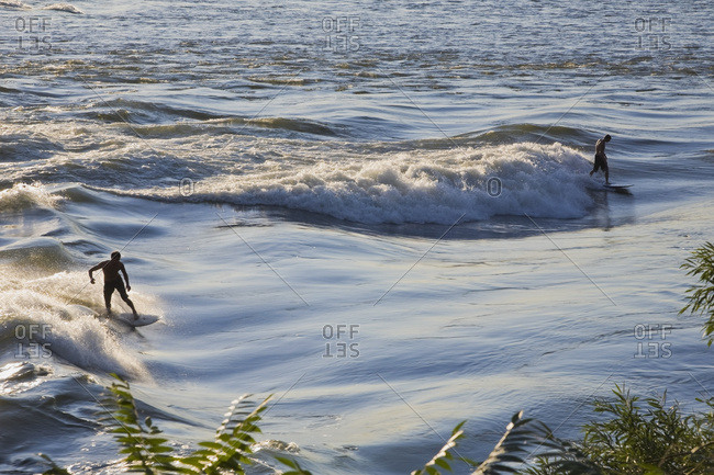 August 17, 2011: Surfers Riding The Rapids On The Saint Lawrence River Near Cite-Du-Havre; Montreal, Quebec, Canada