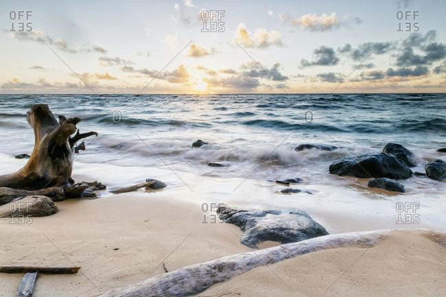 September 8, 2013: Driftwood And Rocks Around Wailua After Sunrise; Wailua, Kauai, Hawaii, United States Of America